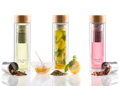 Bamboo Double Wall Glass Tea & Fruit Infusion Bottle ( Tea Tumbler)