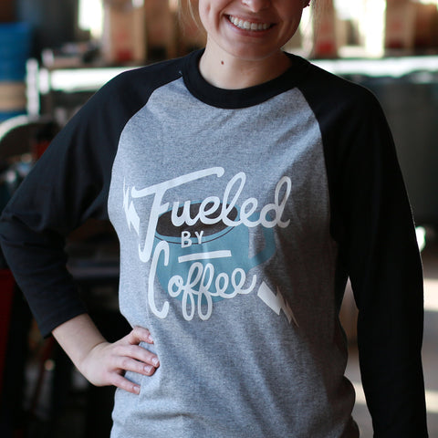 Fueled by Coffee baseball 3/4 length sleeve shirt
