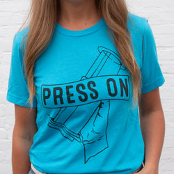 Press On Unisex Soft Tee- Aqua