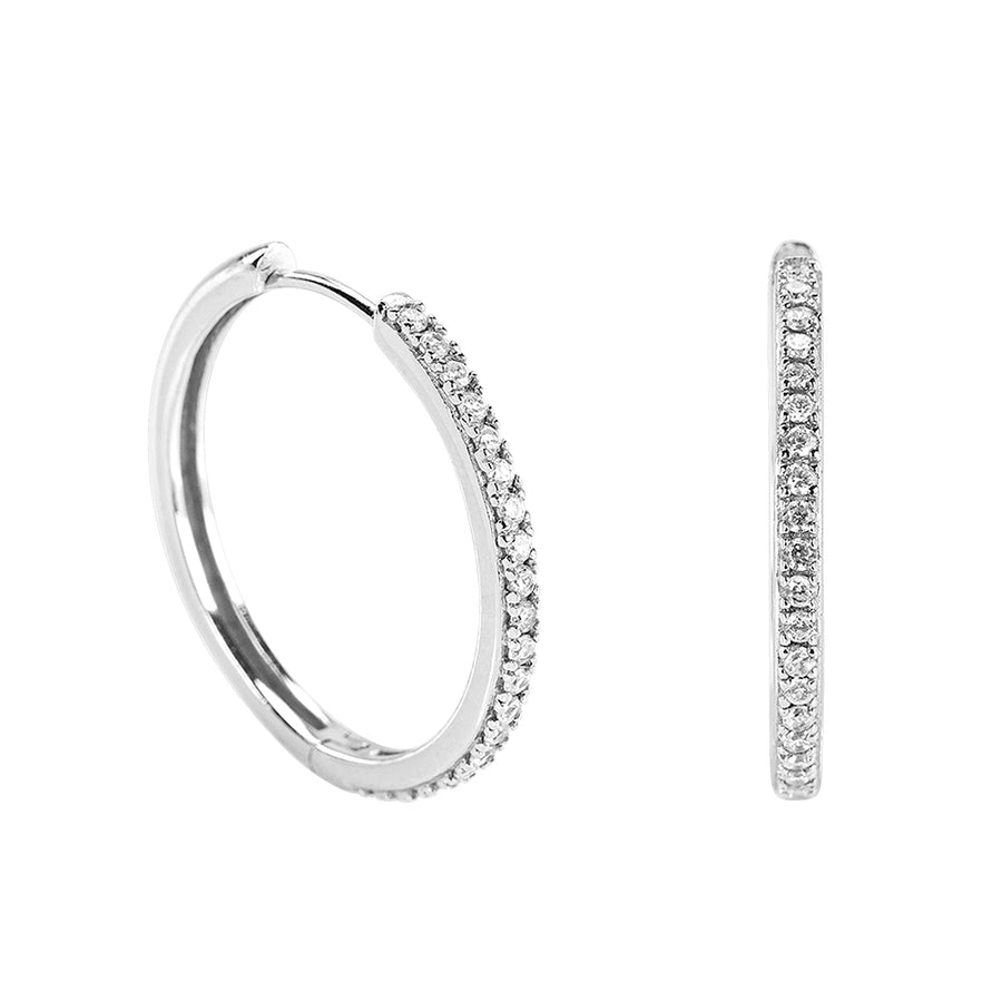 Crystal Hoops Silver