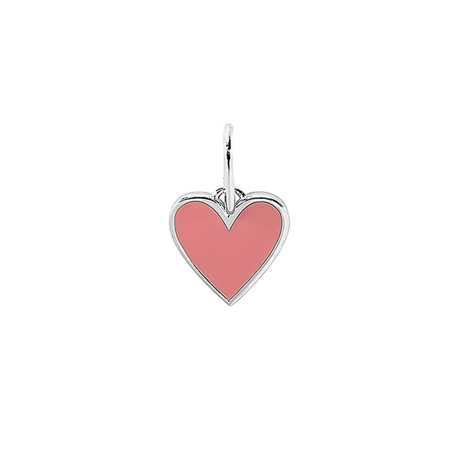 Frozen Heart Necklace Charm Pink Silver