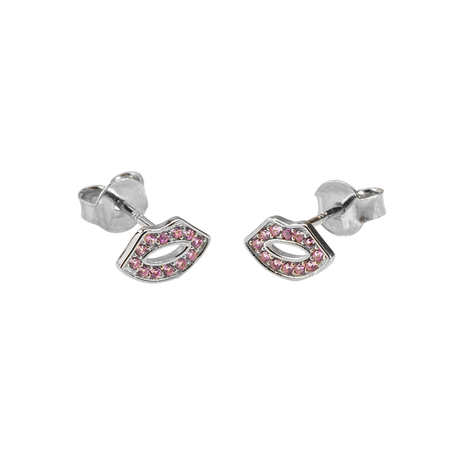 Kiss Me Earrings Zirconia Silver