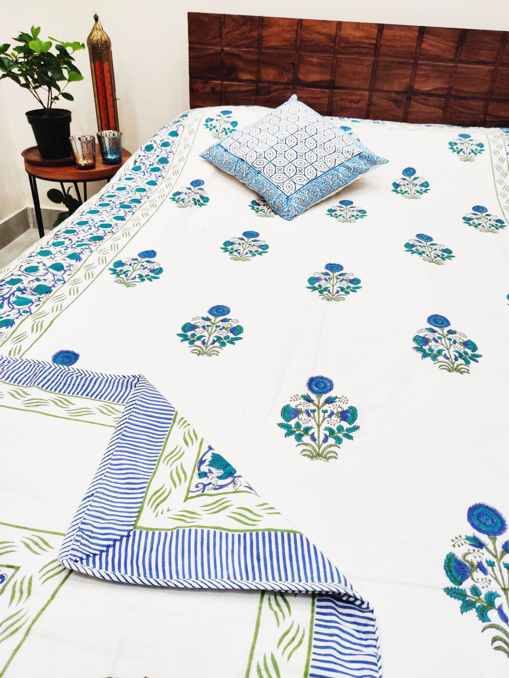 Floral Boota Blue Hand block Printed Reversible Cotton Dohar (Single 90X60 Inches)