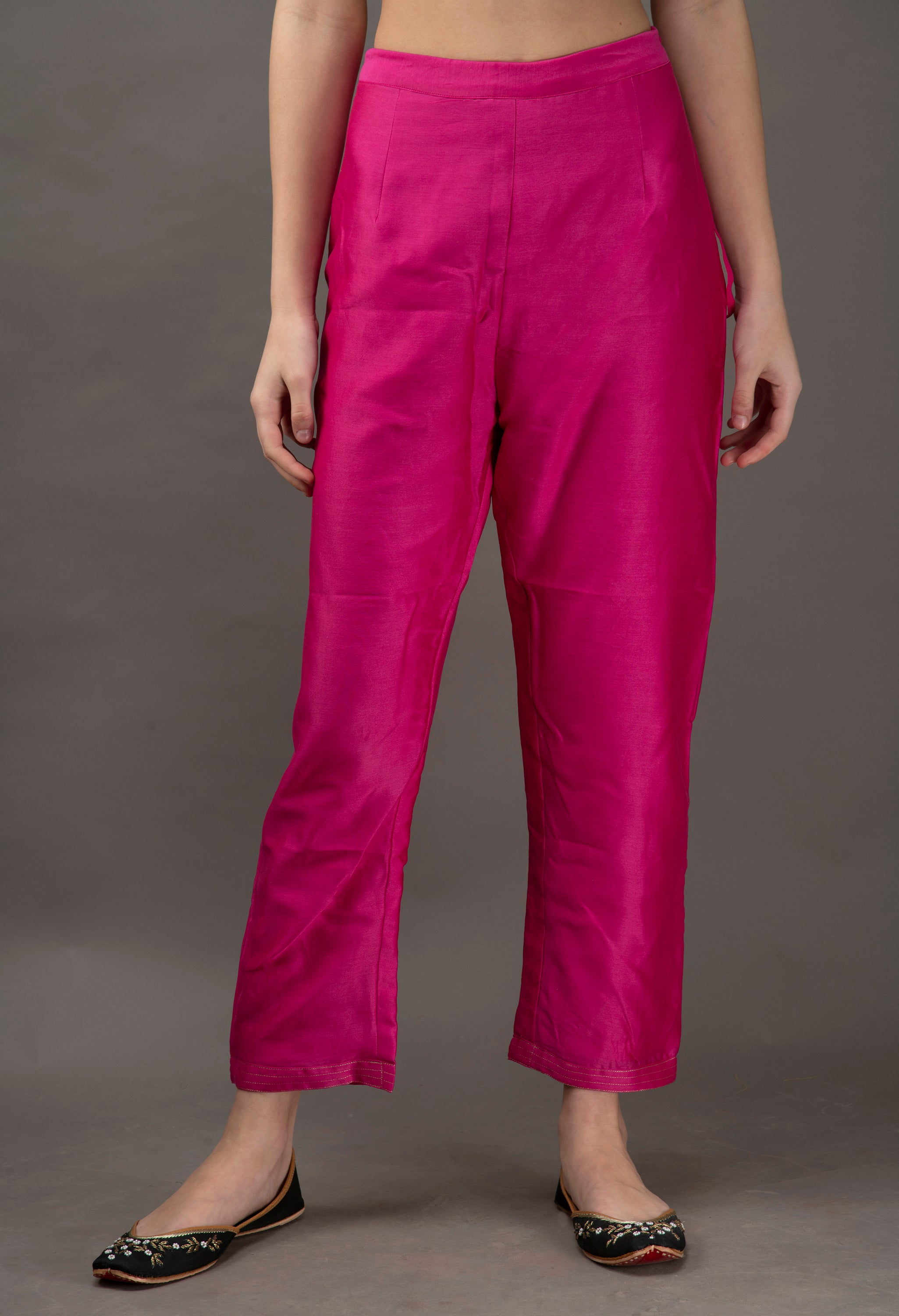 Fuchsia Pink Chanderi Embroidered Pants