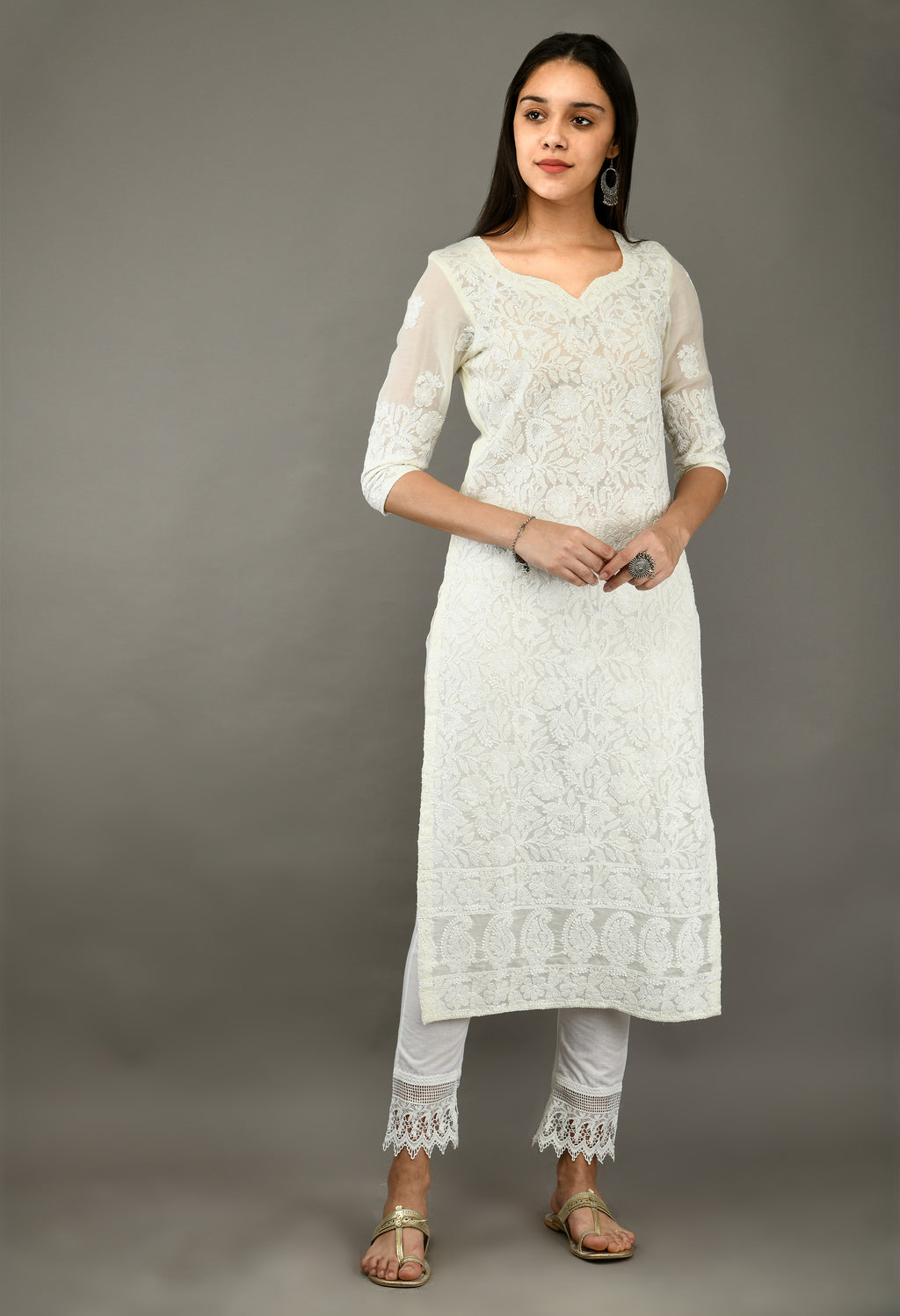 Off White Chikankari Cotton Kurta