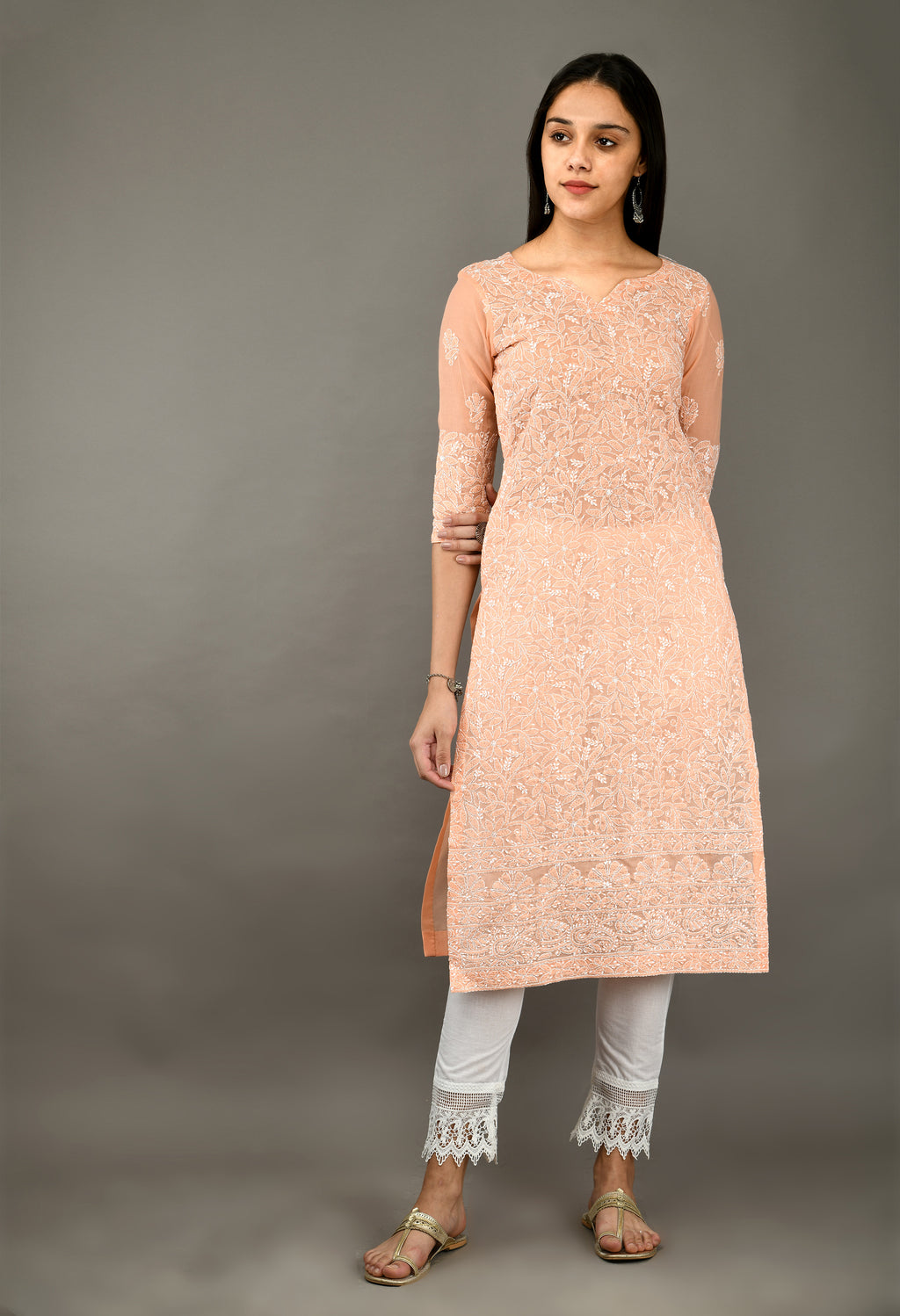 Peach Chikankari Cotton Kurta