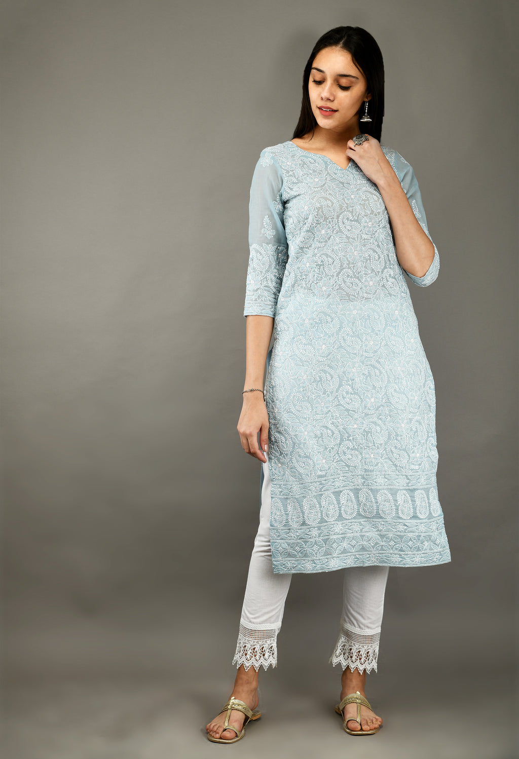 Grey Chikankari Cotton Kurta