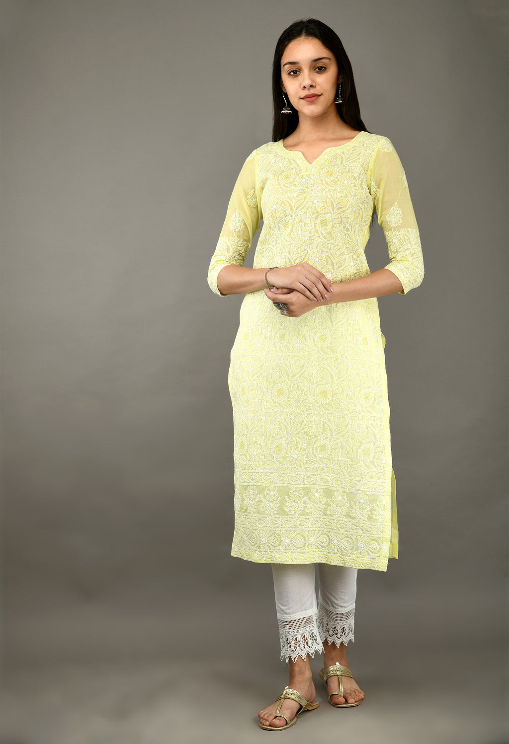 Yellow Chikankari Cotton Kurta