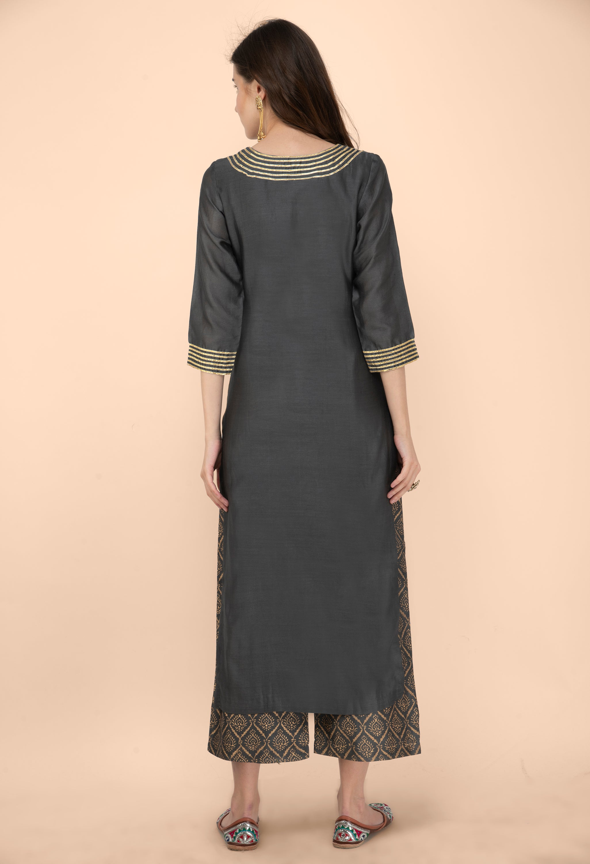 Grey Chanderi Kurta with Gota Detailing on Neck