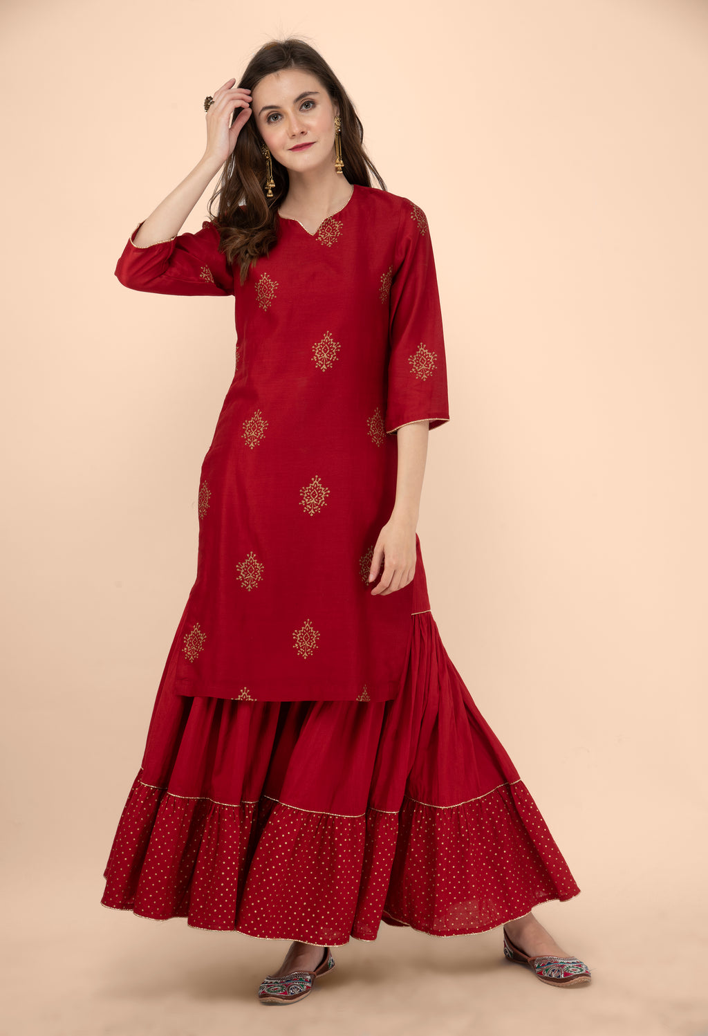Maroon Floral Block Printed Chanderi Kurta with Gota detail