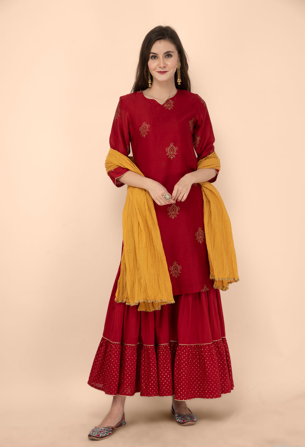 Maroon and Mustard Sharara Set with Crinkled Dupatta- Set of 3