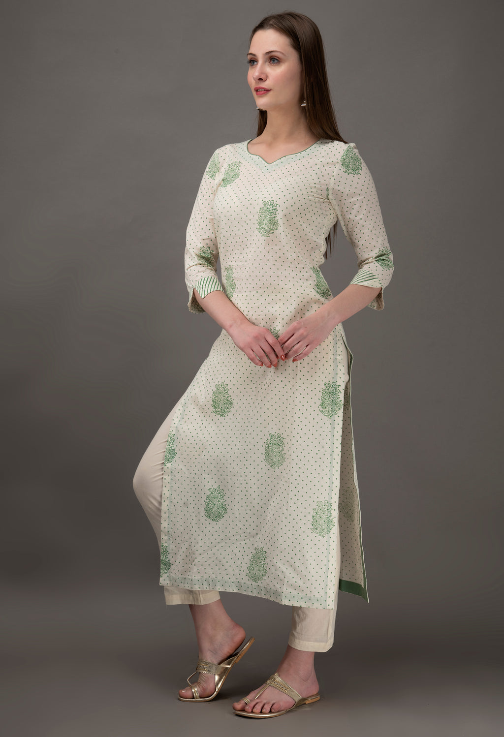 Off white Hand Block Printed Organic Cotton Kurta