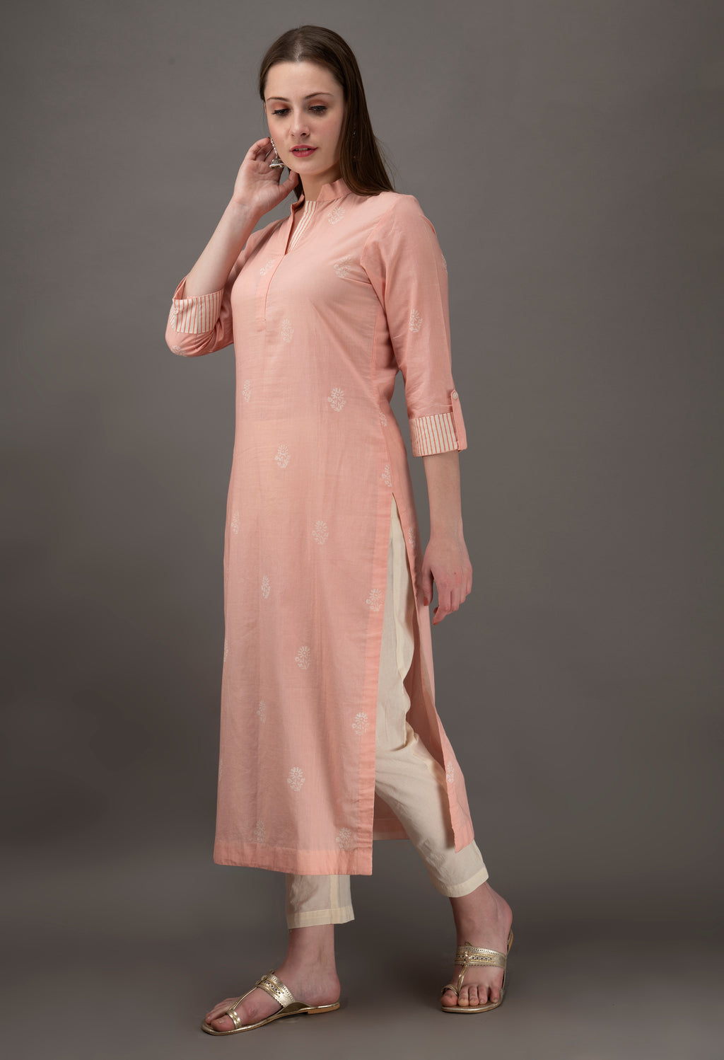 Pink Hand Block Printed Cotton Kurta with Off White Pants- Set of 2