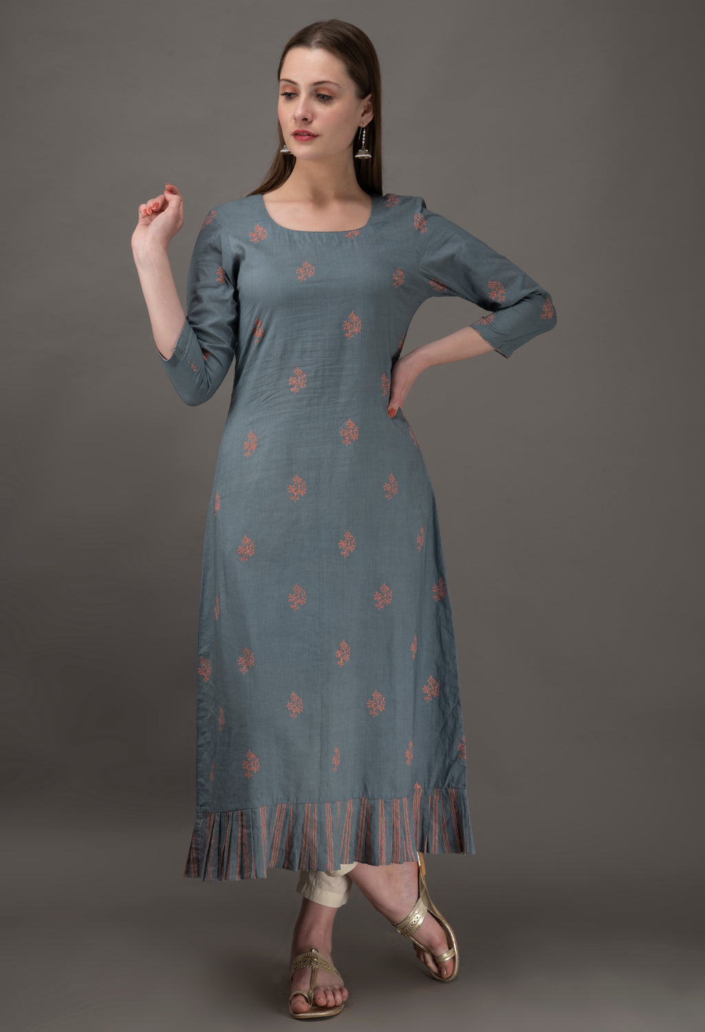 Grey Pink Hand Block Printed Cambric Cotton Kurta