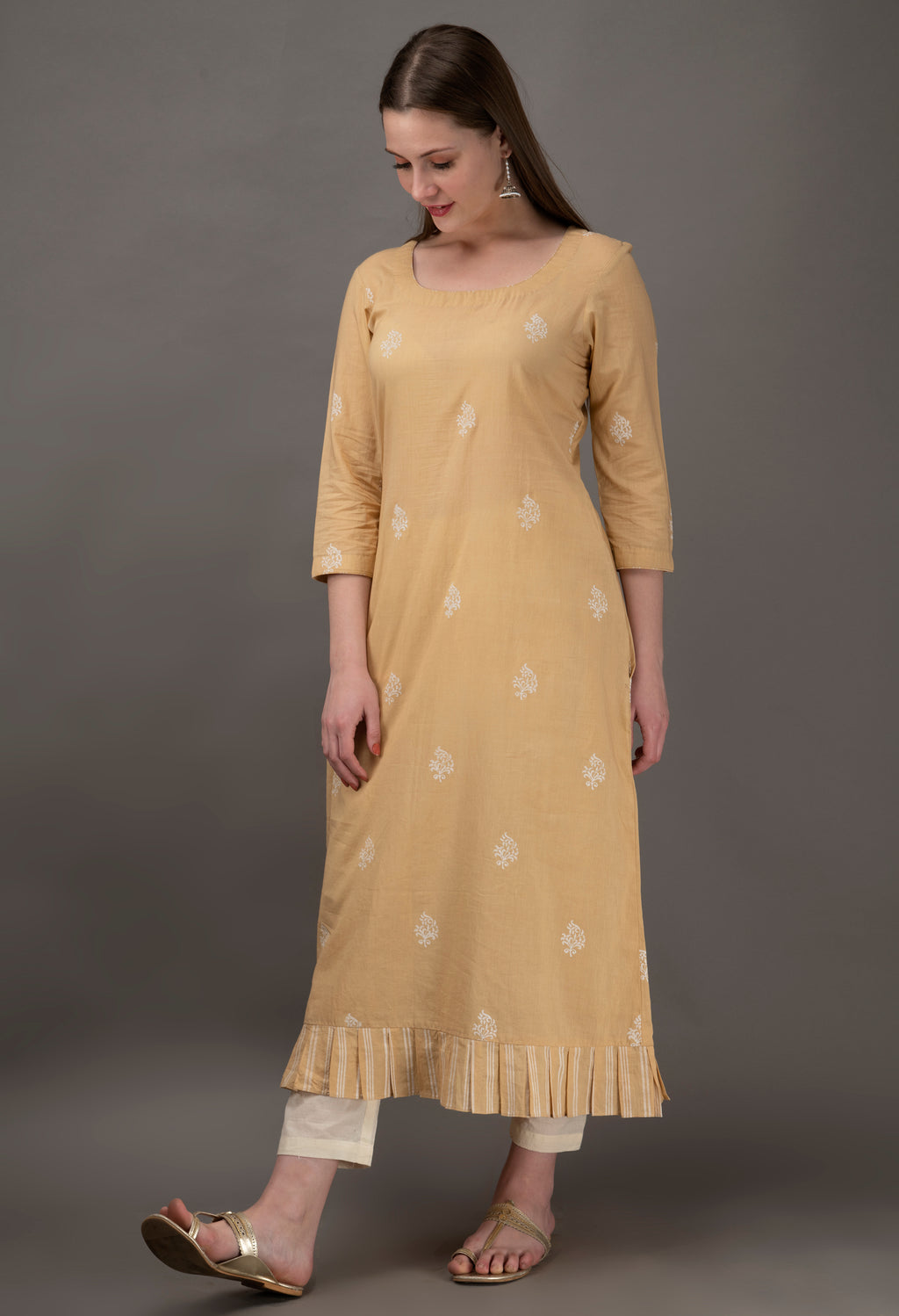 Beige Hand Block Printed Cambric Cotton Kurta