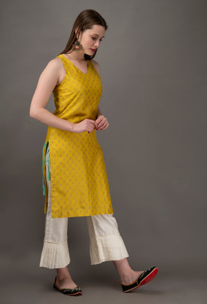 Yellow chanderi short kurta and pant - Set of 2