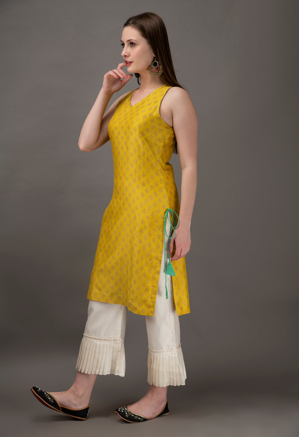 Yellow Chanderi Block Printed Short Kurta