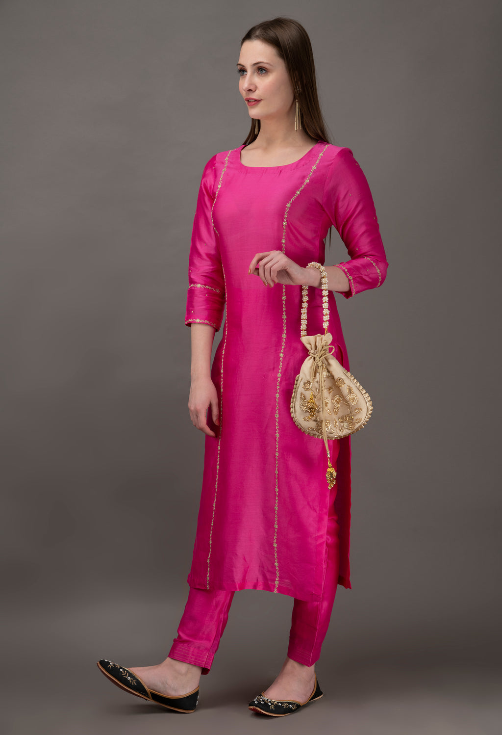 Fuchsia Hand Embroidered Chanderi Kurta with Sequins and Mul Slip (Set of 2)