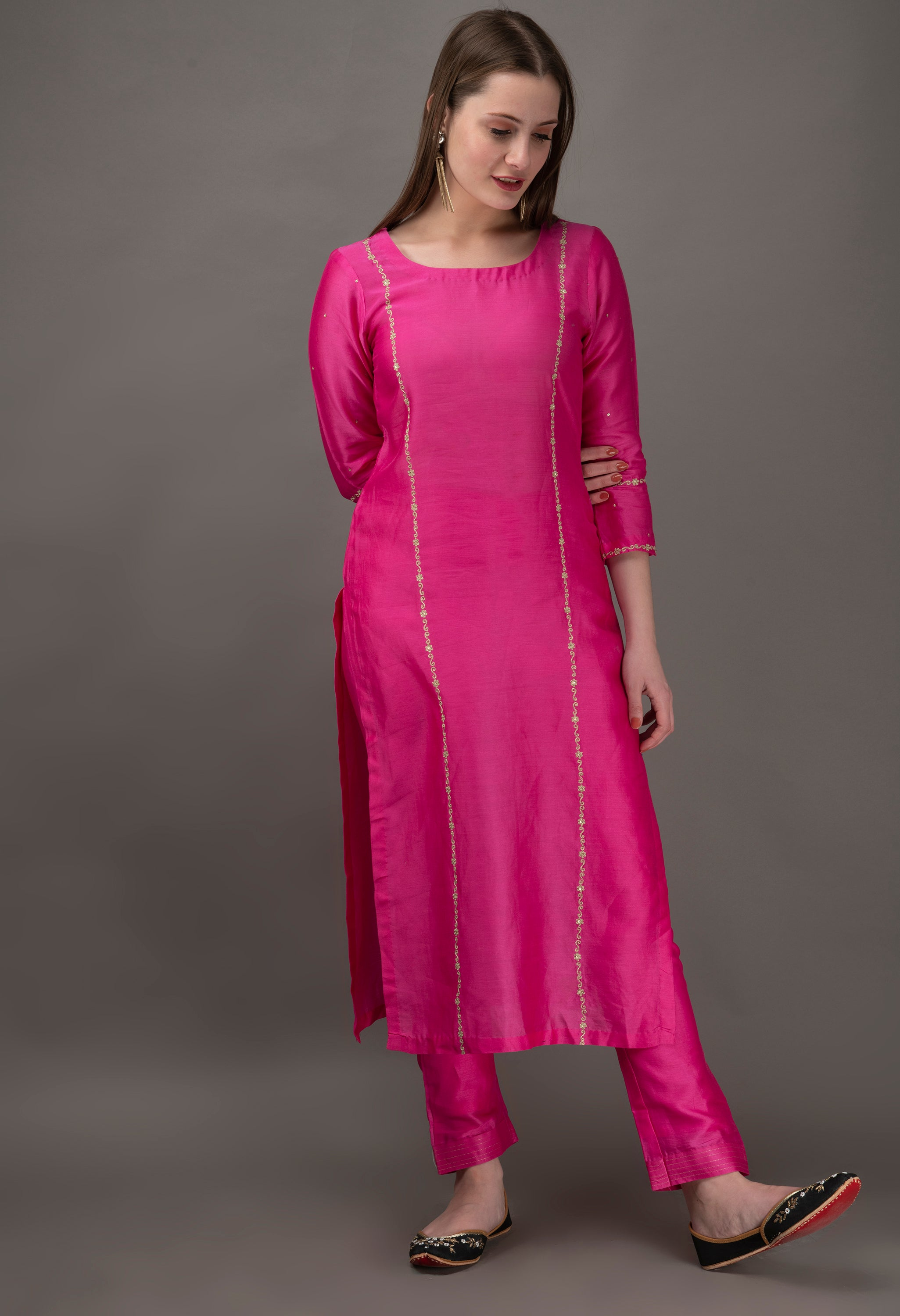 Fuchsia Hand Embroidered Chanderi Kurta with Sequin and Mul Slip (Set of 2)