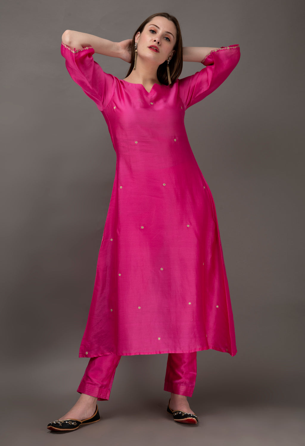 Fuchsia Hand Embroidered Chanderi A line Kurta with Mul Slip (Set of 2)