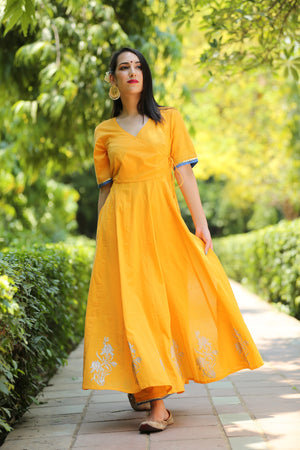Angrakha Yellow Cotton Hand Block Printed Kurta