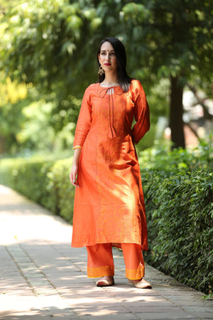 Rust Hand Block Printed Cotton Kurta