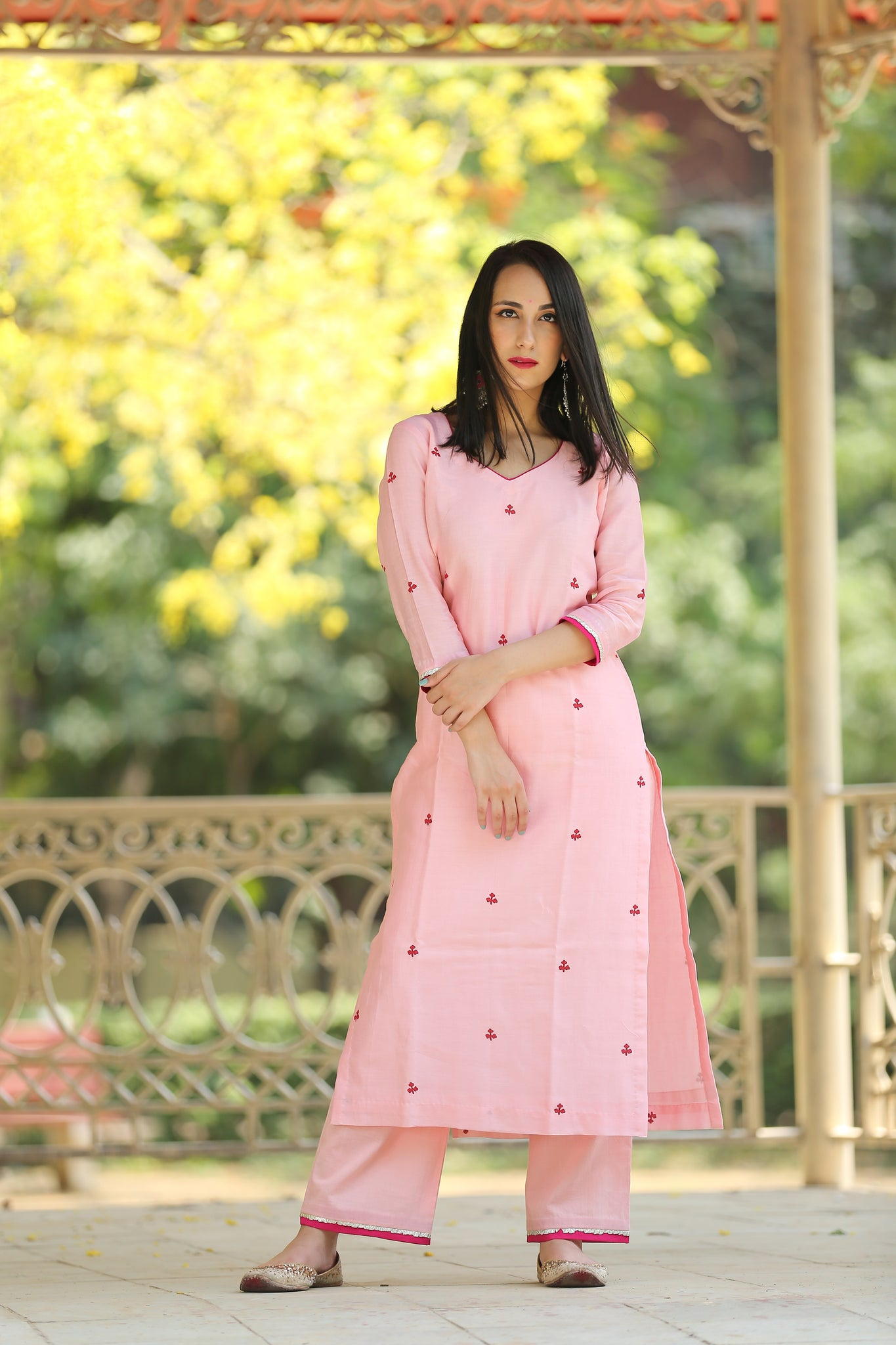 Blush Pink Chanderi Kurta