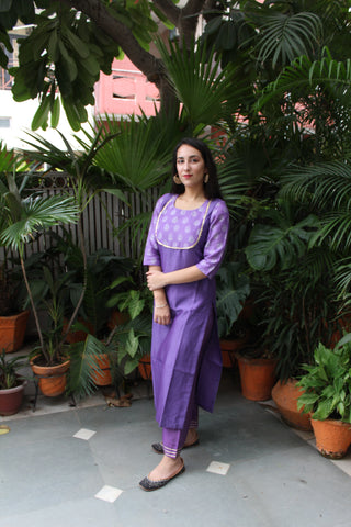 Purple chanderi hand block printed kurta