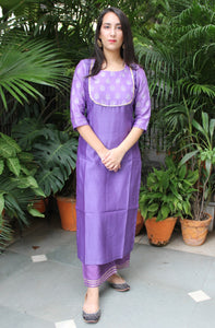 Purple hand block printed kurta