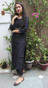 Black chanderi kurta