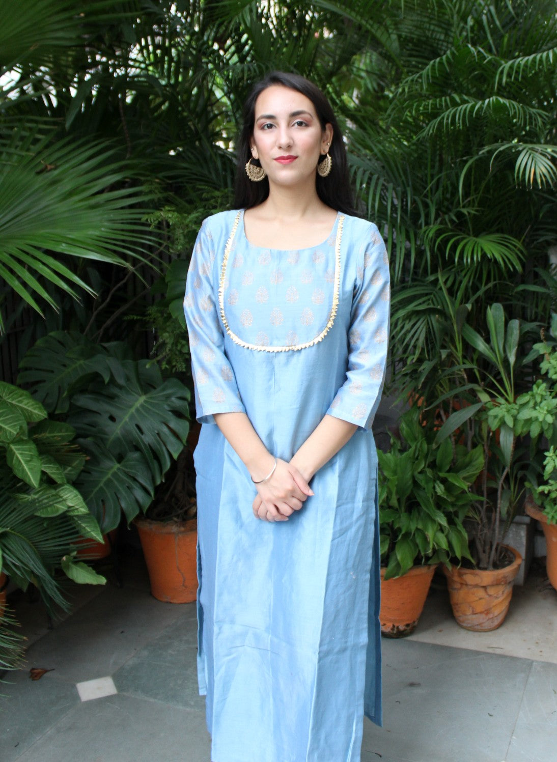 Ice blue hand block printed kurta