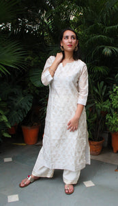 Off white hand block printed kurta