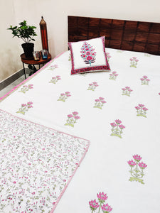 Lotus Pink Hand block Printed Reversible Cotton Dohar (Double 90X108Inches)
