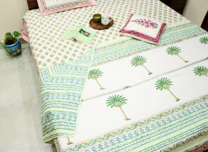 Palm Tree Green Hand block Printed Reversible Cotton Dohar (Double 90X180 Inches)