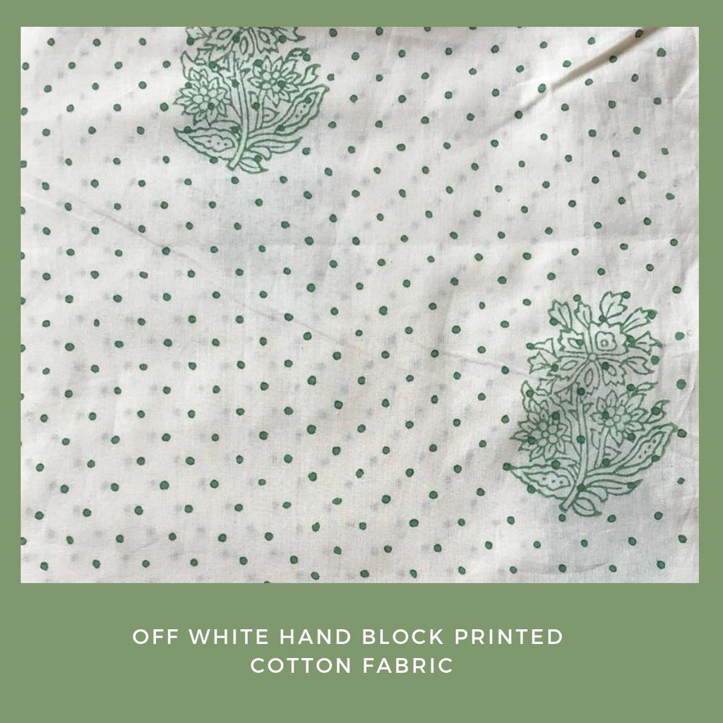 Off White and Green Hand Block Printed Cotton Fabric