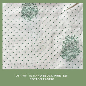 Off white and green hand block printed fabric