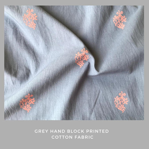 Grey hand block printed fabric