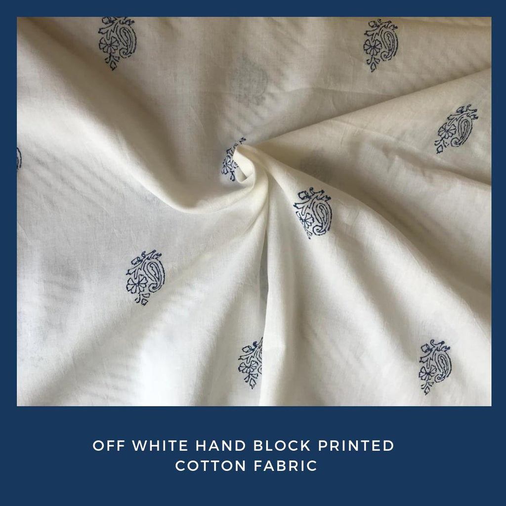 Off White Hand Block Printed Cotton Fabric