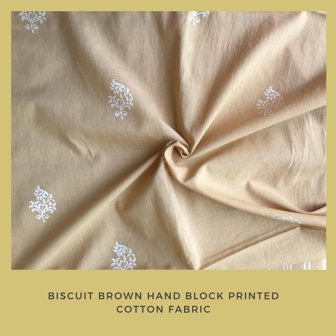 Biscuit Brown Hand Block Printed Fabric