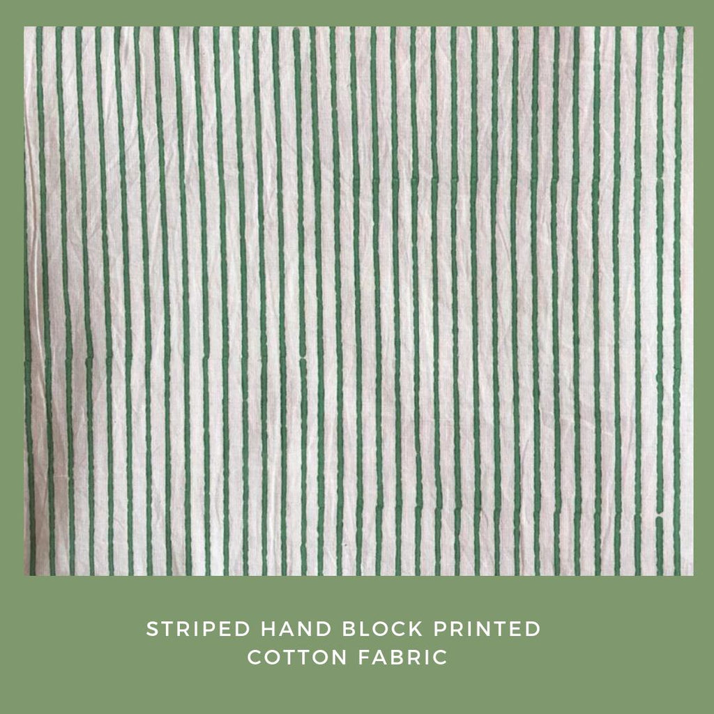 Off White Hand Block Printed Striped Cotton Fabric