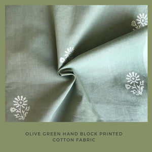 Olive green hand block printed fabric