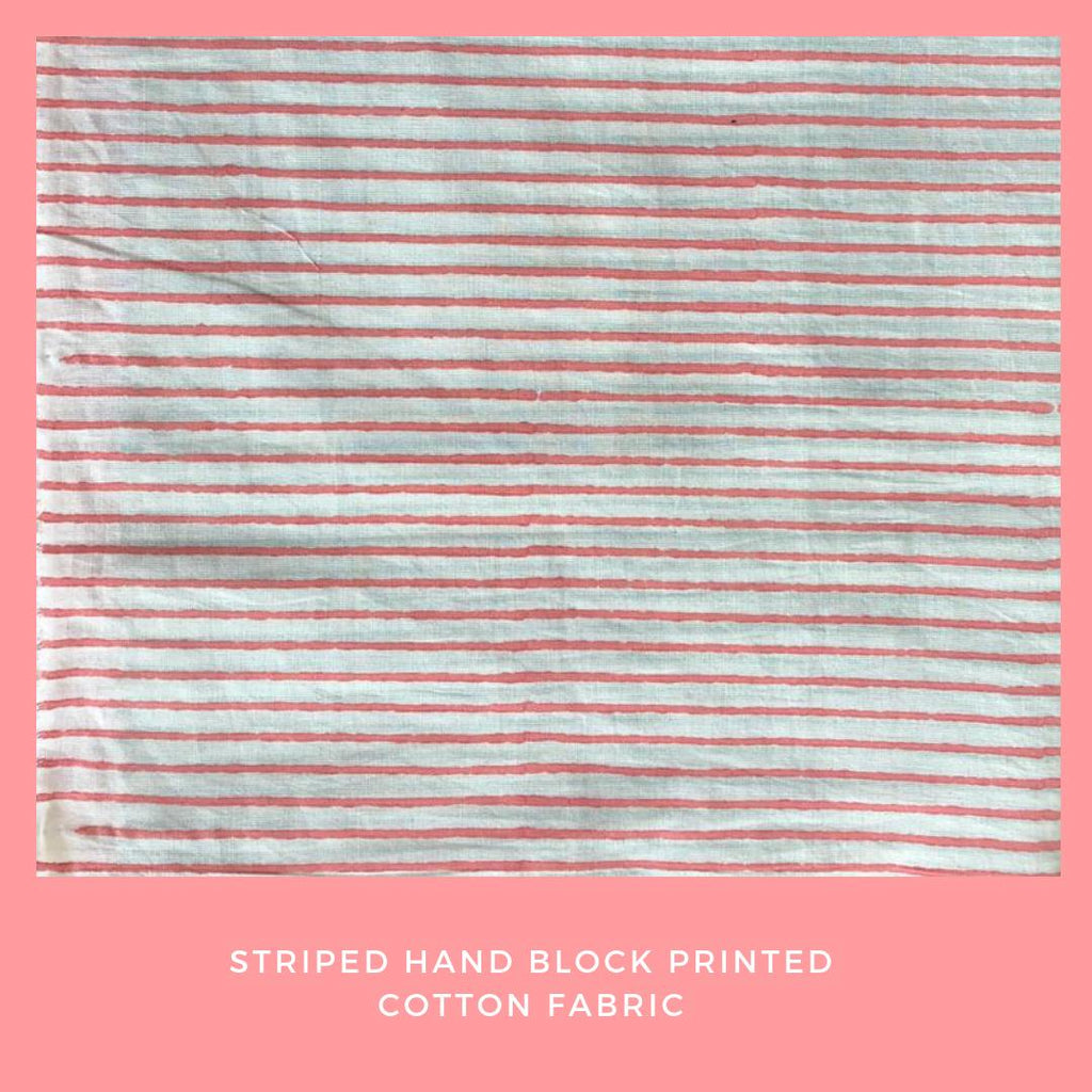 Off White and Pink Hand Block Printed Cotton Fabric