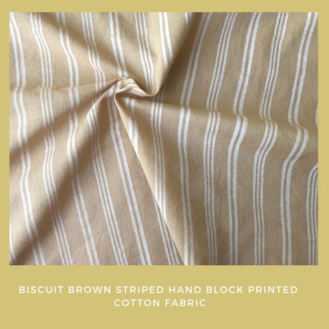 Biscuit brown striped hand block printed fabric