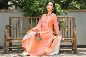 Peach High Low Chanderi Hand Block Printed Suit Set- Set of 3