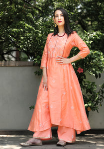 Peach high low kurta