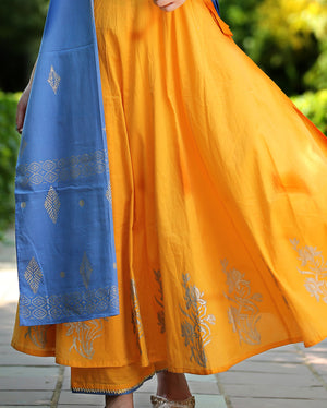 Yellow and Blue Printed Block Printed Cotton Angrakha Set with Dupatta-Set of 3
