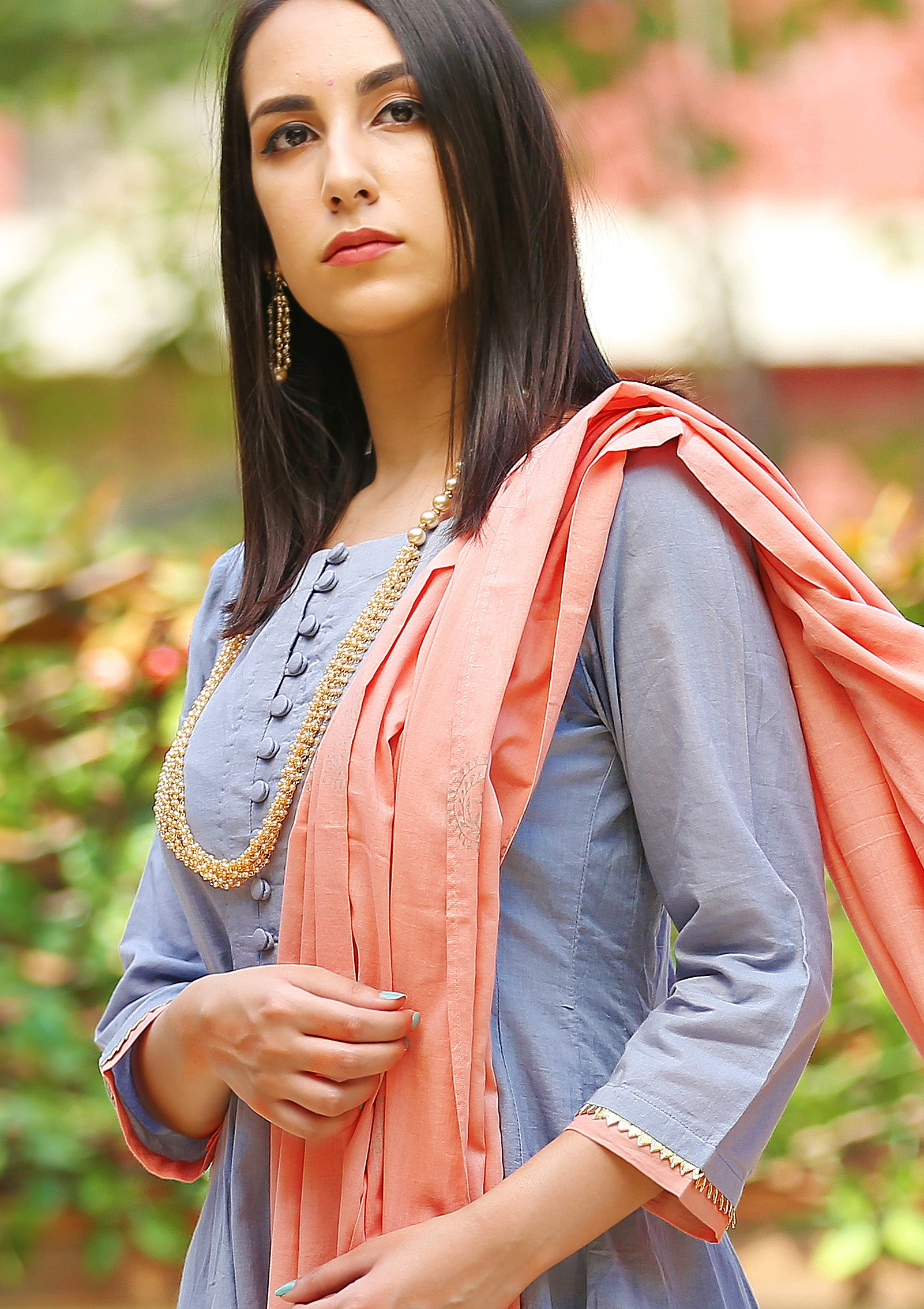 Grey Angrakha Cotton Block Printed Suit Set with Pink Dupatta- set of 3