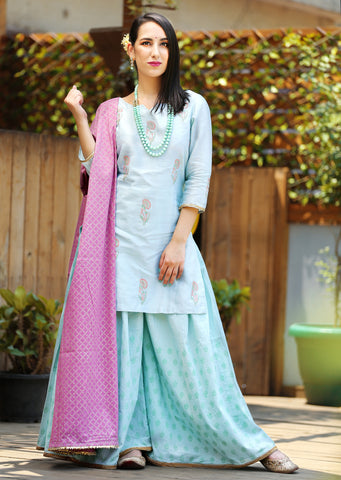 Mint green gharara set- Set of 3