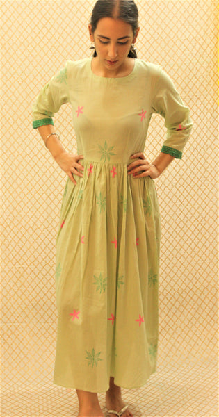 Mint green gathered cotton dress