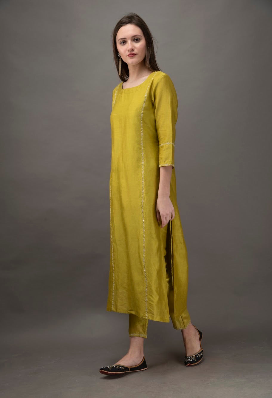 Lime Green Hand Embroidered Straight Kurta with Mul Slip